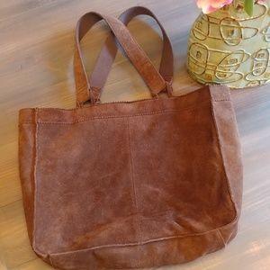 J Crew brown genuine leather market tote bag